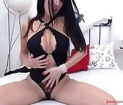 Busty brunette cam MILF shows off pussy and ass