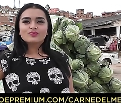 CARNE DEL MERCADO - Teen looking Latina sucks and fucks two dicks