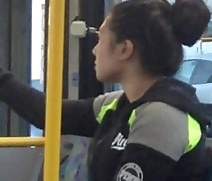 Woman Yawning &amp_ Stretching On Bus