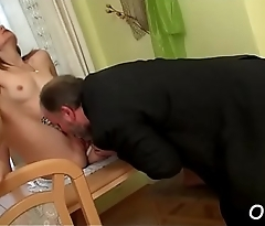 Skinny non-professional doxy gets licked and rides an old dick wildly