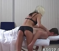 Naughty girl in sexy underware licks dick inserts it in cunt