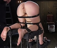 Blonde sub with ass in the air spanked