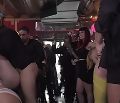 Yellow haired slave fucked in public