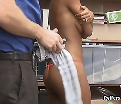 Busty black thief caught and fucked on spycam