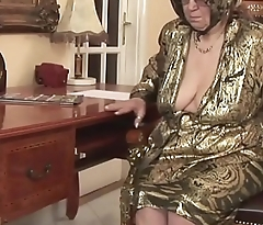 Horny granny gets sexual satisfaction