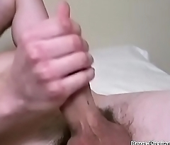 Fetish stud soaks up his bed with piss before jerking off