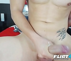 Brian Mendoza - Flirt4Free - Toned Latino Twink Gives Himself a Lotion Handjob