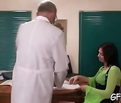 Doctor is examing babe'_s virginity in front of 2 fellows