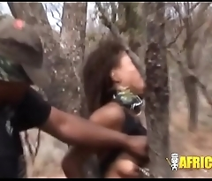 African model gets tortured in the forest