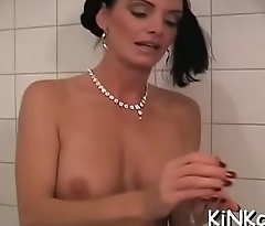 Hot femdom act with nice-looking babe dominating completely
