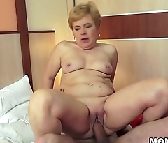 Shaved GILF pussy filled with big dick