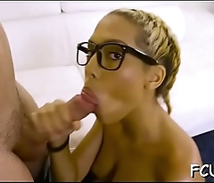 Lastly excited babe gets her squelching cunt pounded hard