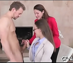 Innocent looking babe gives a massive dick a steamy cook jerking