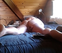 dognaked shows ass and cums