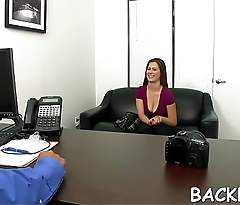 Fancy model with fantastic body screwed at the interview