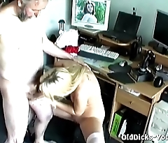 Blonde pussy roughed by bearded dude