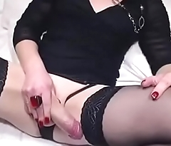 Beautiful tranny cock cums hard