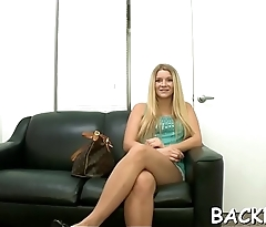 Sex model arrives at a casting to demosntrate riding skills