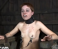 Gagged cutie receives furious whipping on her tits