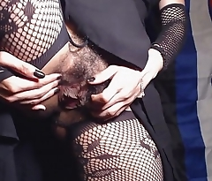 HD Upskirt Closeup Hairy Pussy and Asshole in Crotchless Fishnet Tights