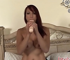 Sensual babe toys pussy with huge dildos solo