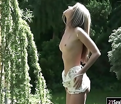 Petite Gina Gerson sucks cock and anal rides in the backyard
