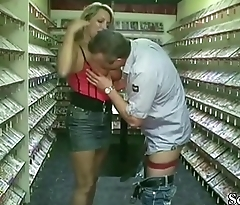German MILF Seduce to Fuck by two Stranger in Sex-Shop